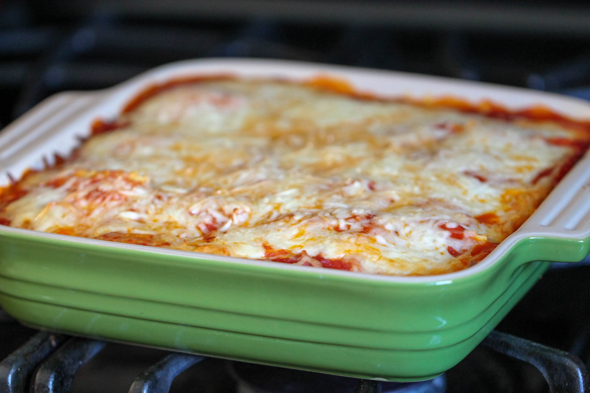 Baked ravioli casserole in oven