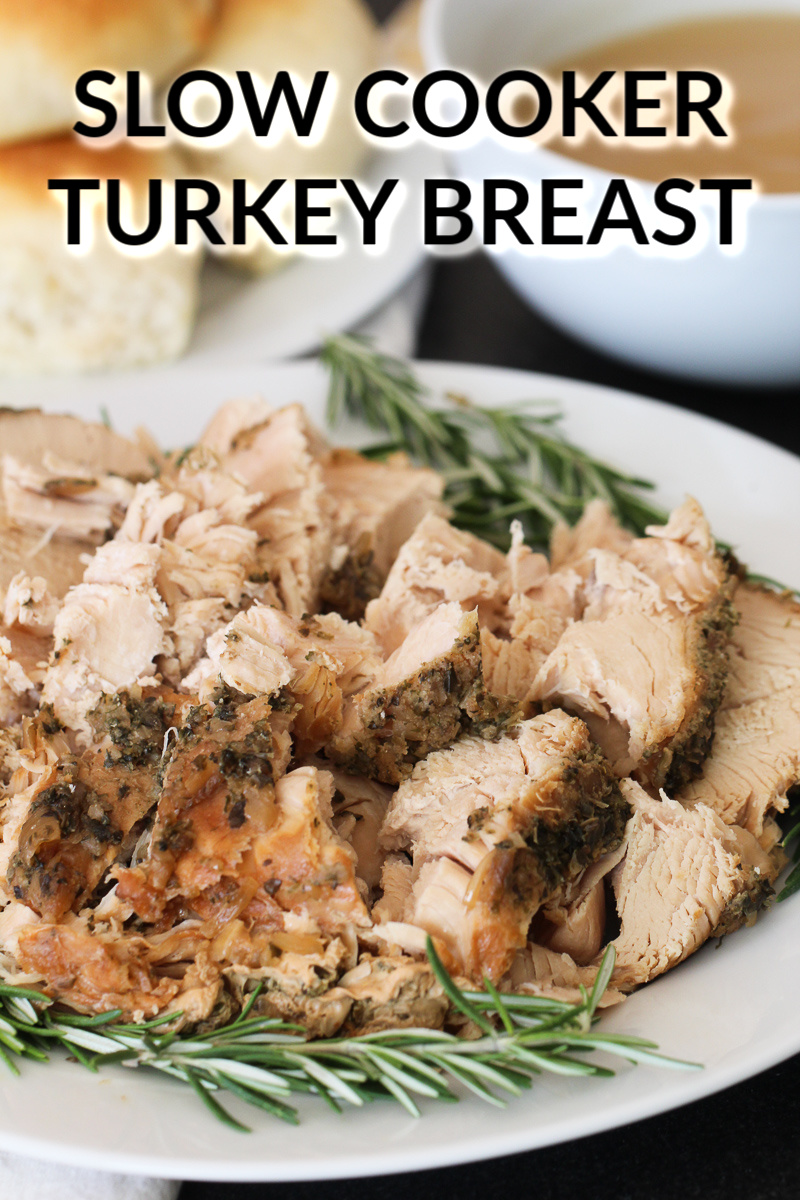 turkey breast that has been cooked in a slow cooker with rosemary
