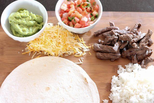 Ingredients needed for steak burritos