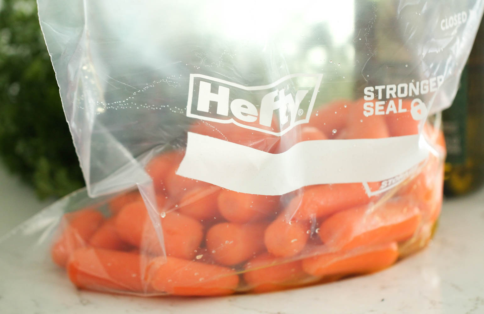 Honey Roasted Carrots in ziploc bag to get coated