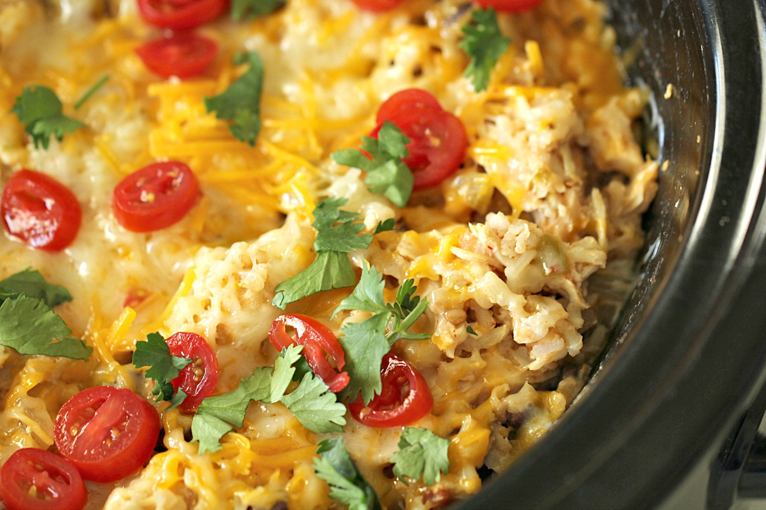Slow Cooker Spicy Chicken and Rice Bowls in the slow cooker