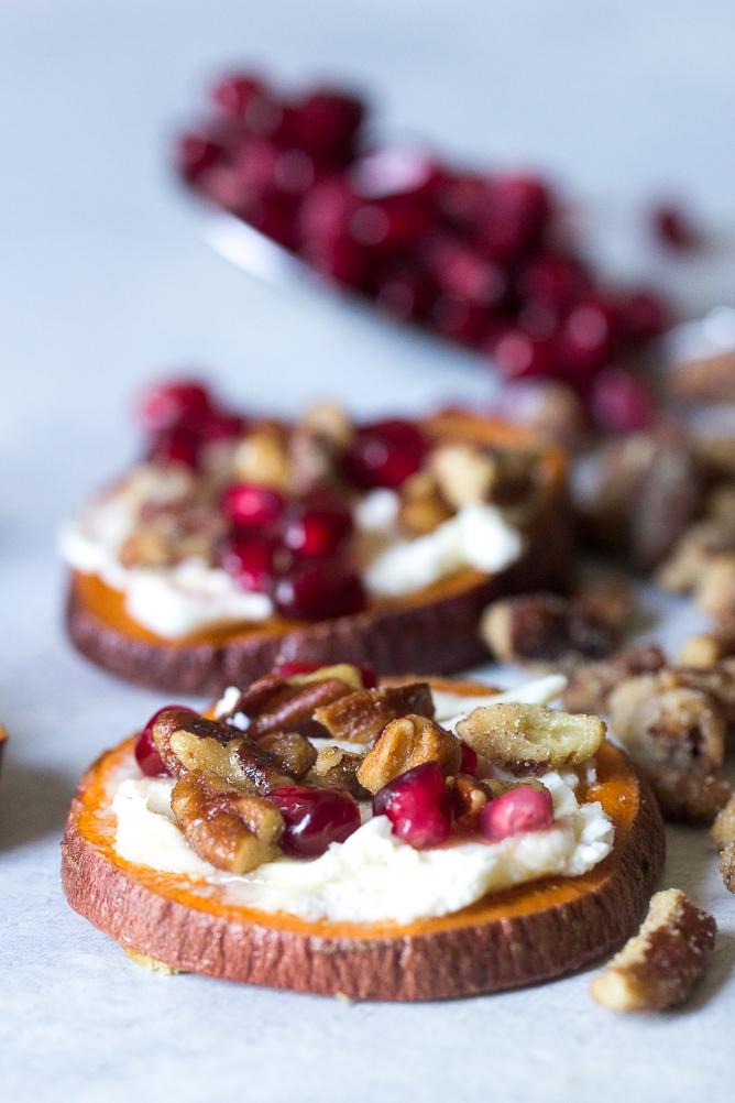 Sweet Potato Crostini with Pomegranate and Honey