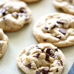 Baked chocolate chip cookies on pan
