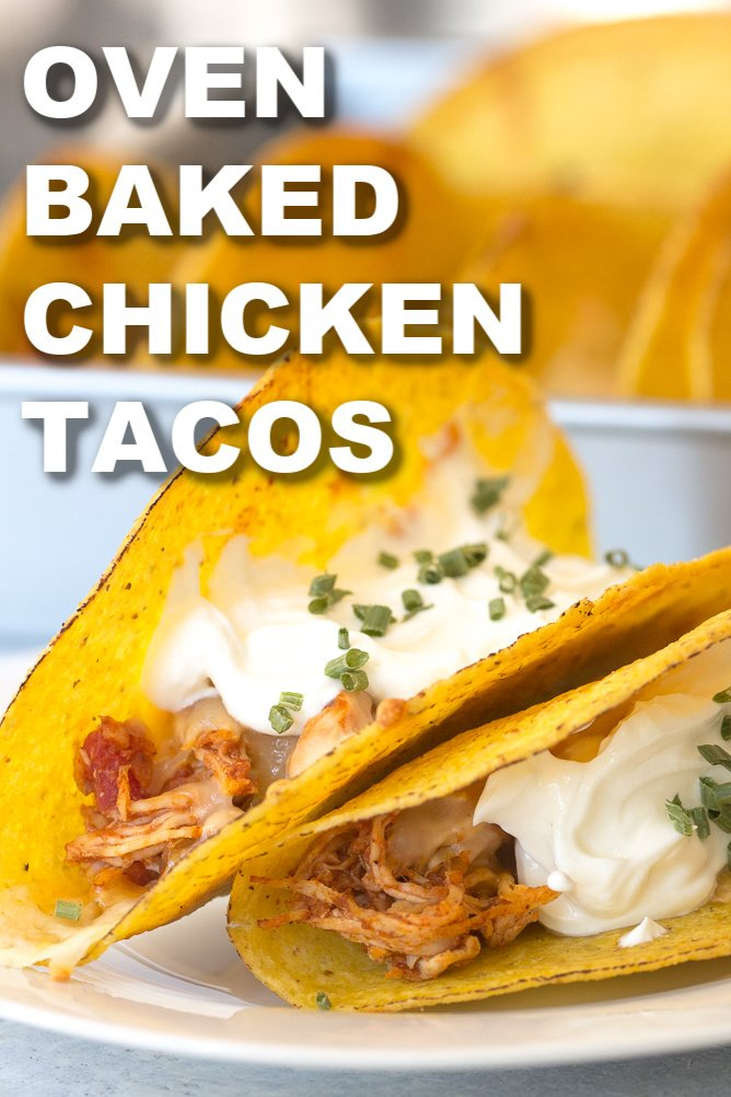 Oven Baked Chicken Tacos Text on Image