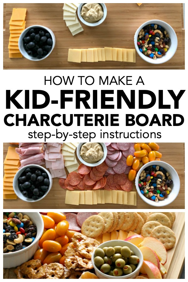 images of steps of how to make a kid-friendly charcuterie board