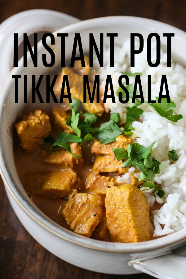 Chicken Tikka masala cooked in bowl with words.