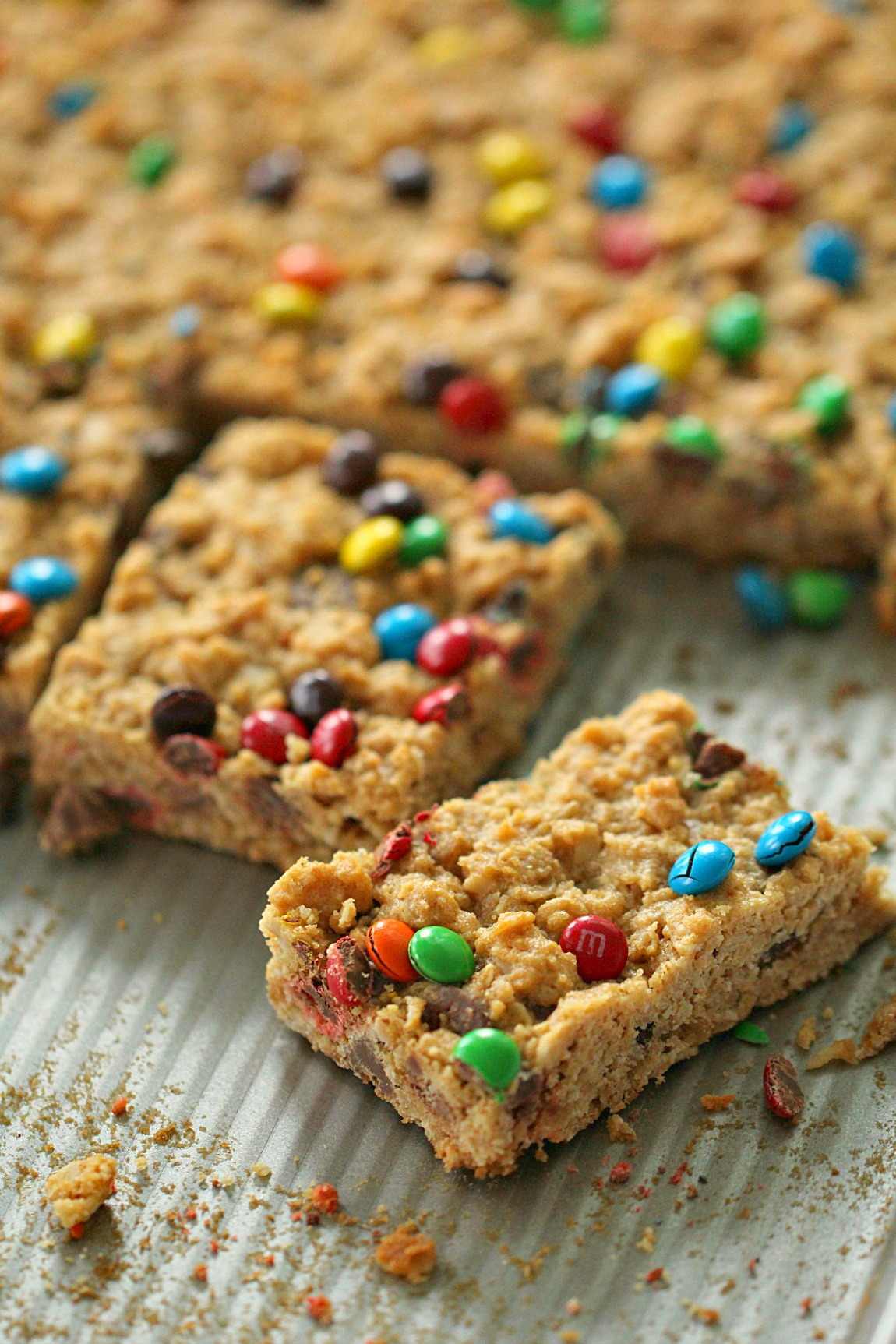 M&M Oatmeal Cookie Bars [Gluten Free]
