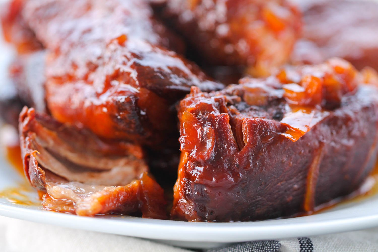 Slow Cooker BBQ Country Style Ribs on a white plate