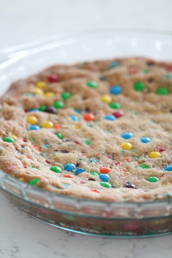 Baked M&M Cookie Pie in Glass Pie Dish