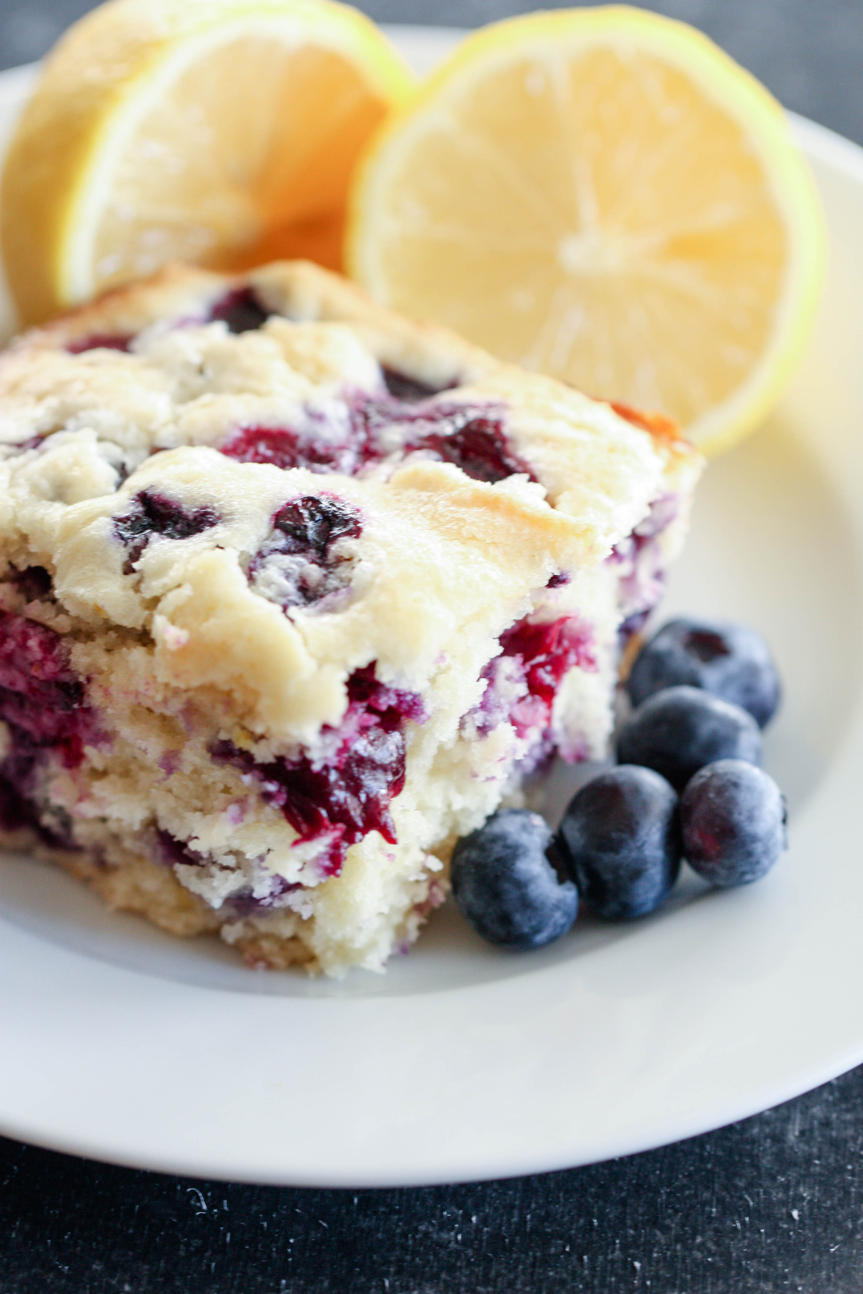 Lemon Blueberry Cake slice plated.