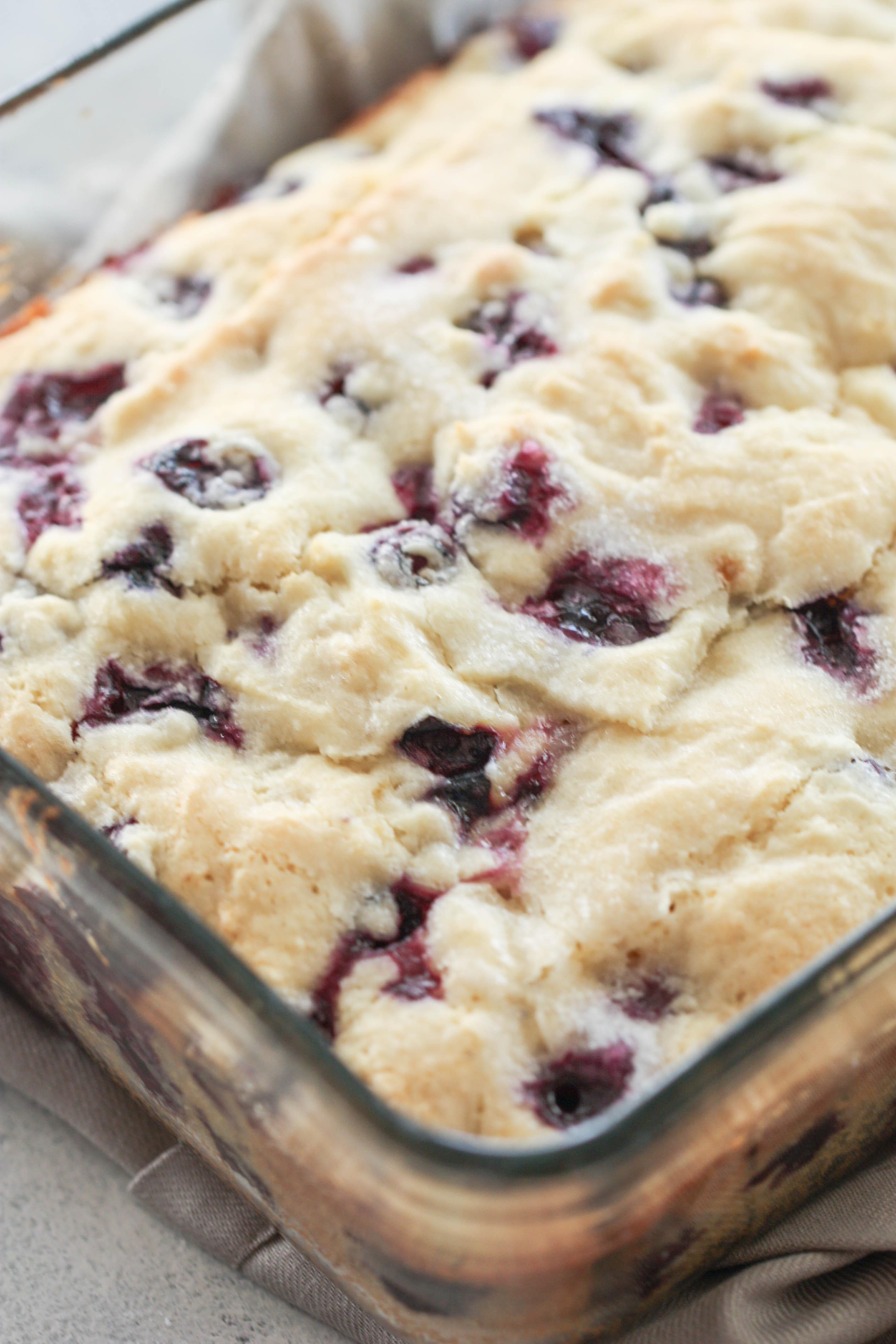 Lemon blueberry cake batter baked