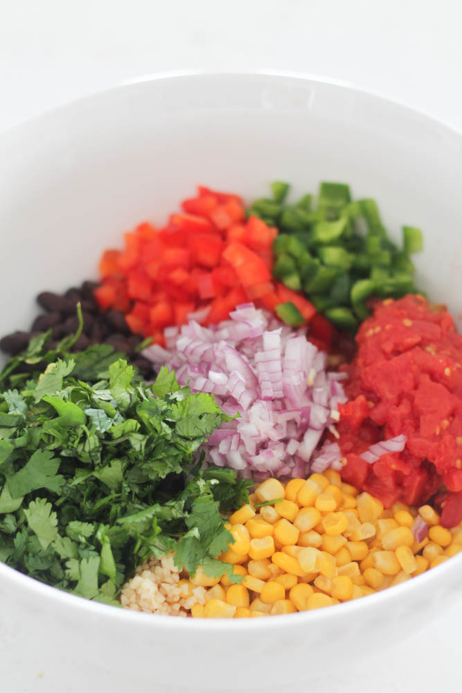 Ingredients for Black Bean and Corn Salsa in a bowl