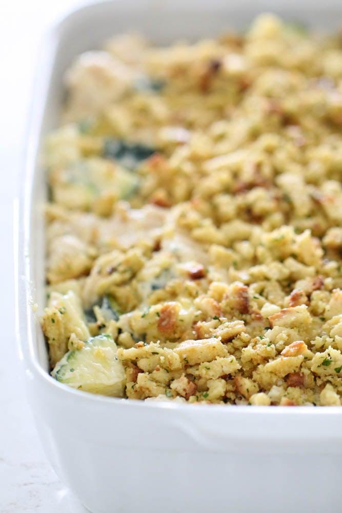 Chicken Zucchini Casserole in white casserole dish