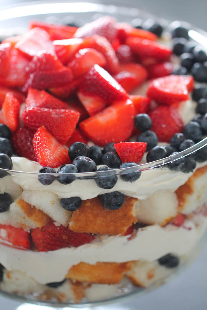 Top view of 4th of July Patriotic Berry Trifle