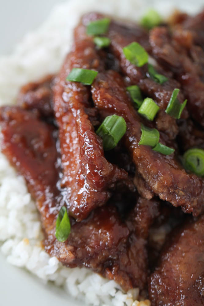 Copycat P.F. Chang's Mongolian Beef served over white rice