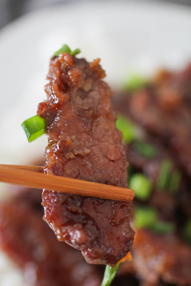 P.F. Chang's Mongolian Beef with chopsticks