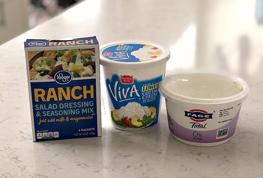 Three Ingredients for Cottage Cheese Ranch Dip