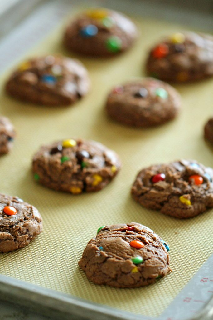 Brownie Mix Cookies on a baking sheet