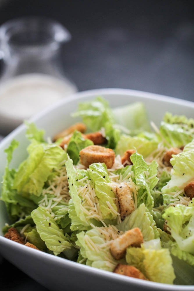 Easy Homemade Caesar Salad and Dressing (Without Anchovies)