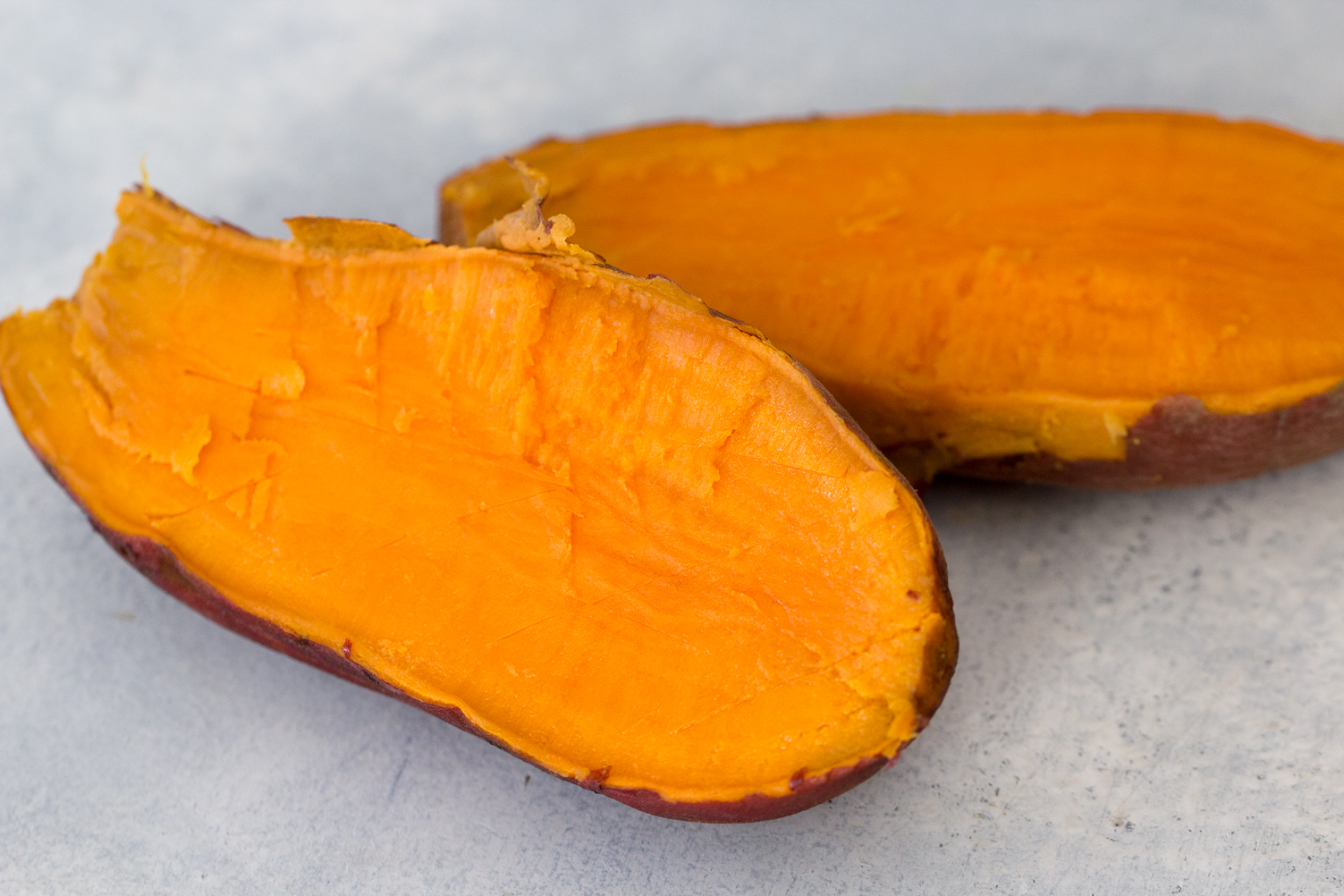 Instant Pot Baked Sweet Potato cut in half