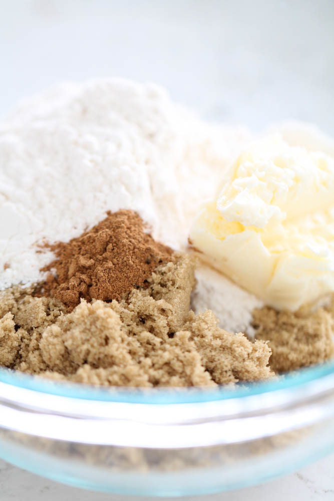 Streusel topping ingredients in small mixing bowl