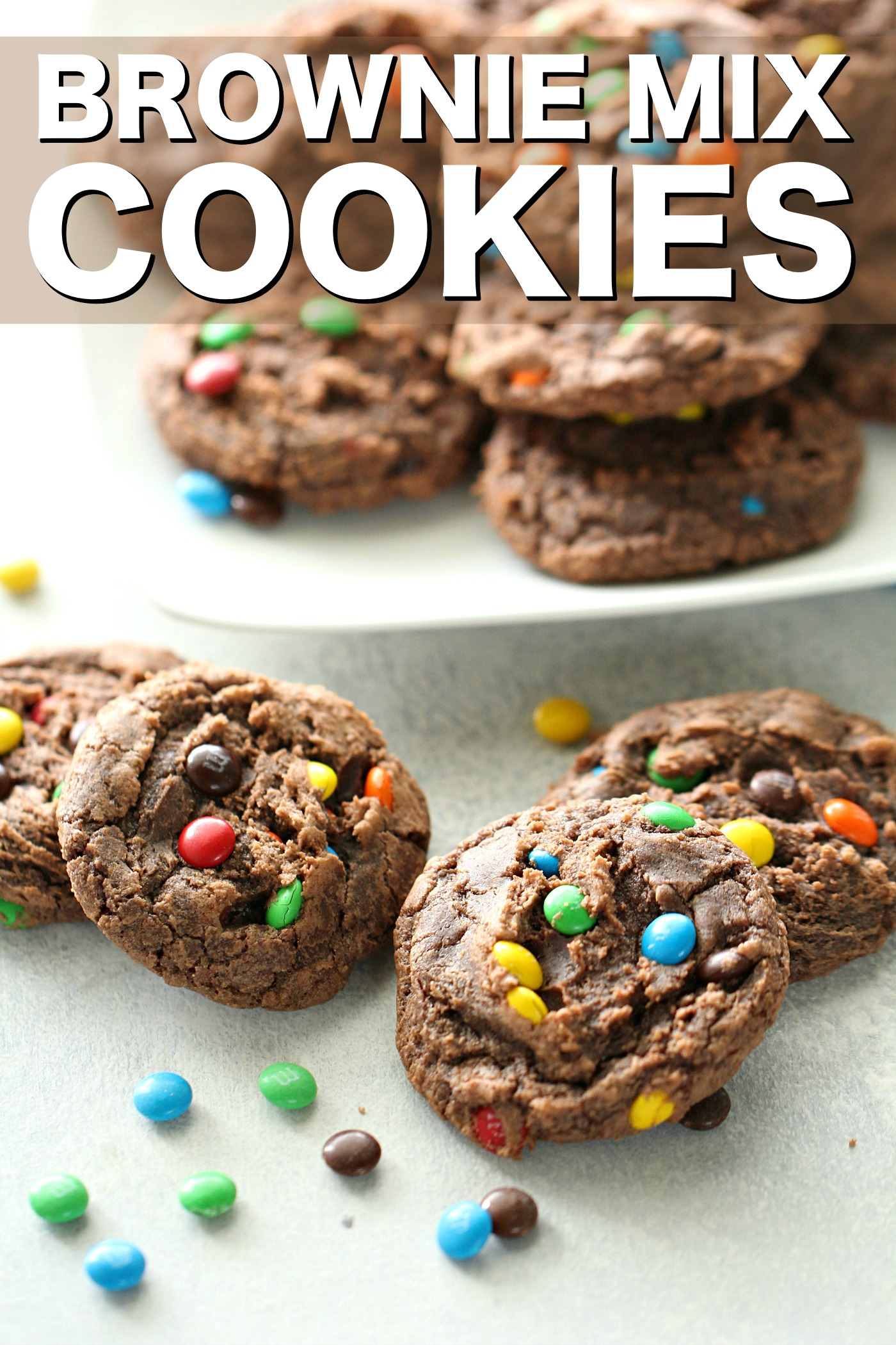 Brownie Mix Cookies on a counter top