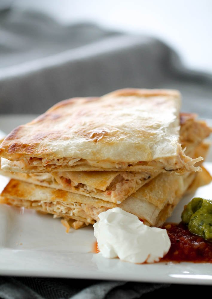 Slow Cooker Cheesy Chicken Quesadillas Six Sisters Stuff