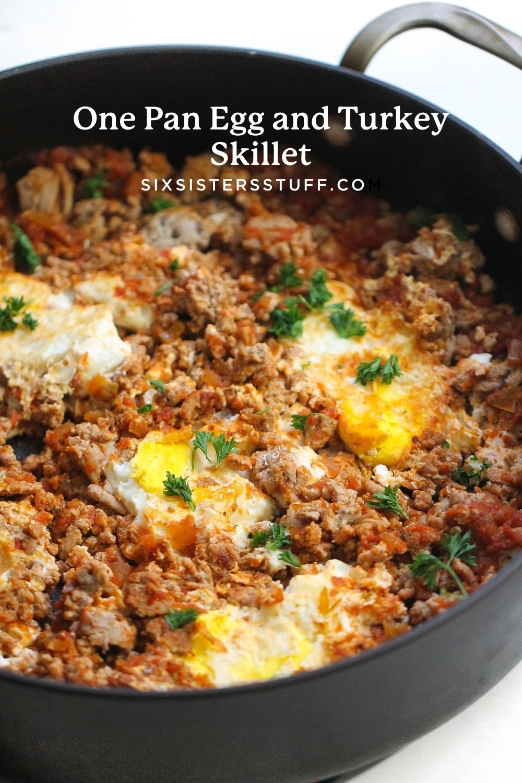 One Pan Egg and Turkey Skillet Pinterest Image