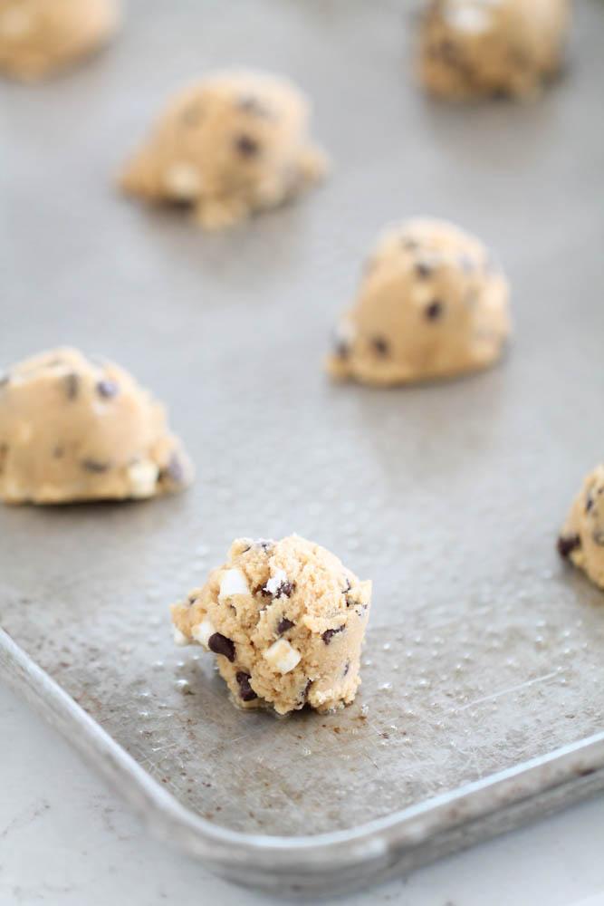 S'mores Cookie dough balls on baking sheet