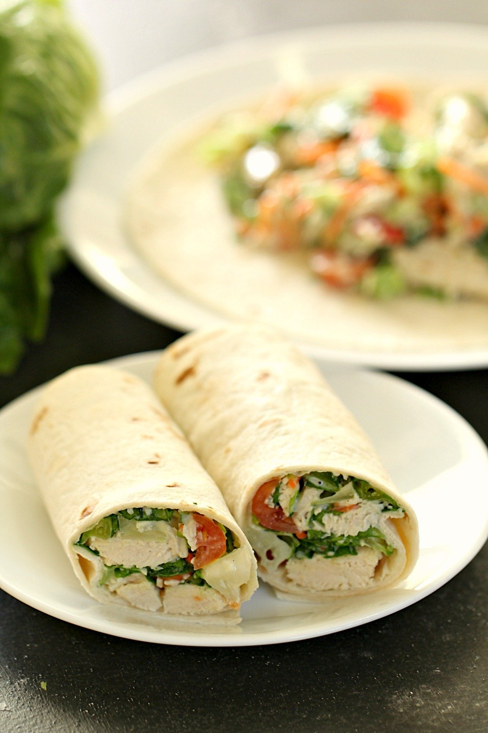 10 Minute Healthy Chicken Caesar Salad Wraps
