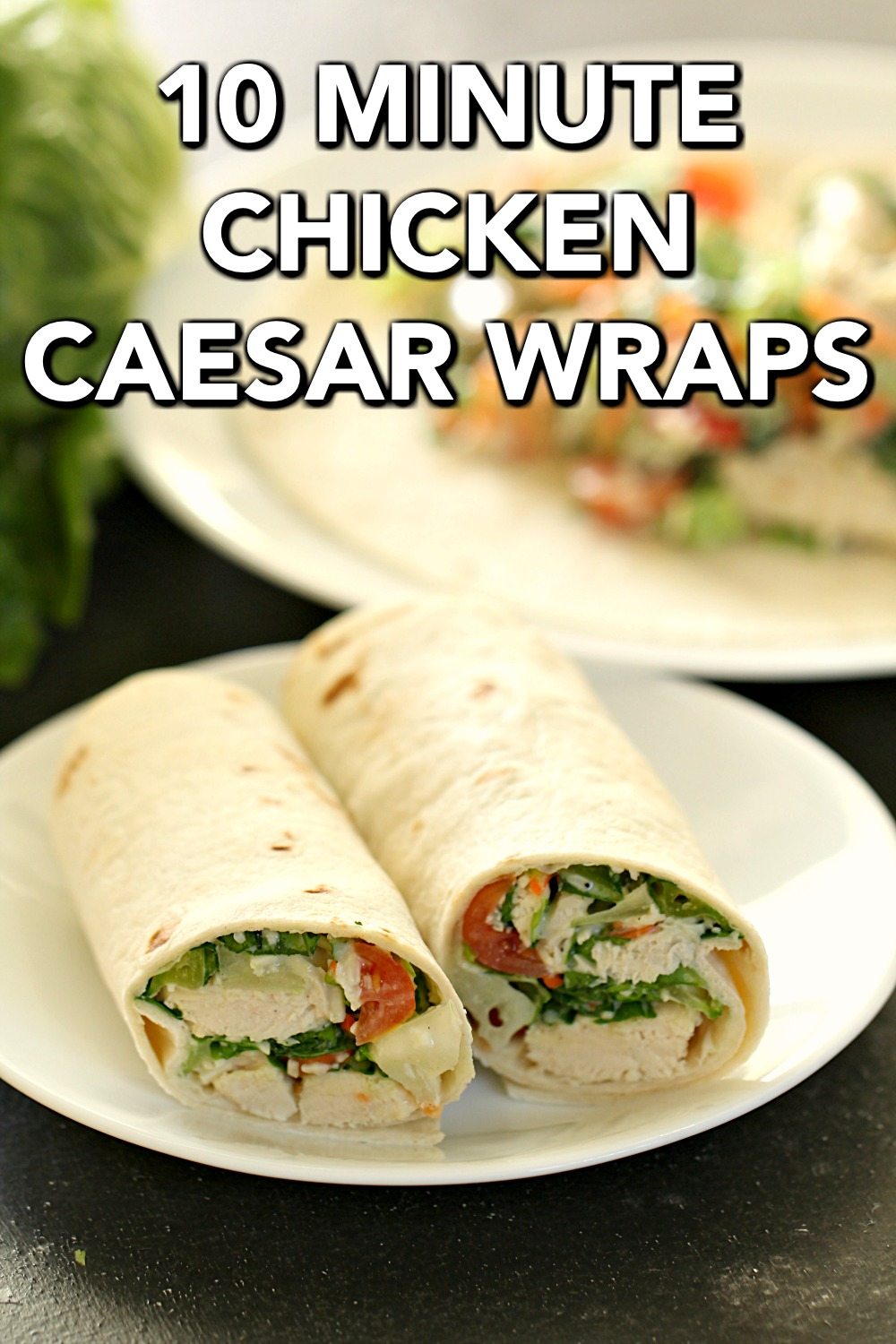 Healthy Chicken Caesar Salad Wraps on a white plate