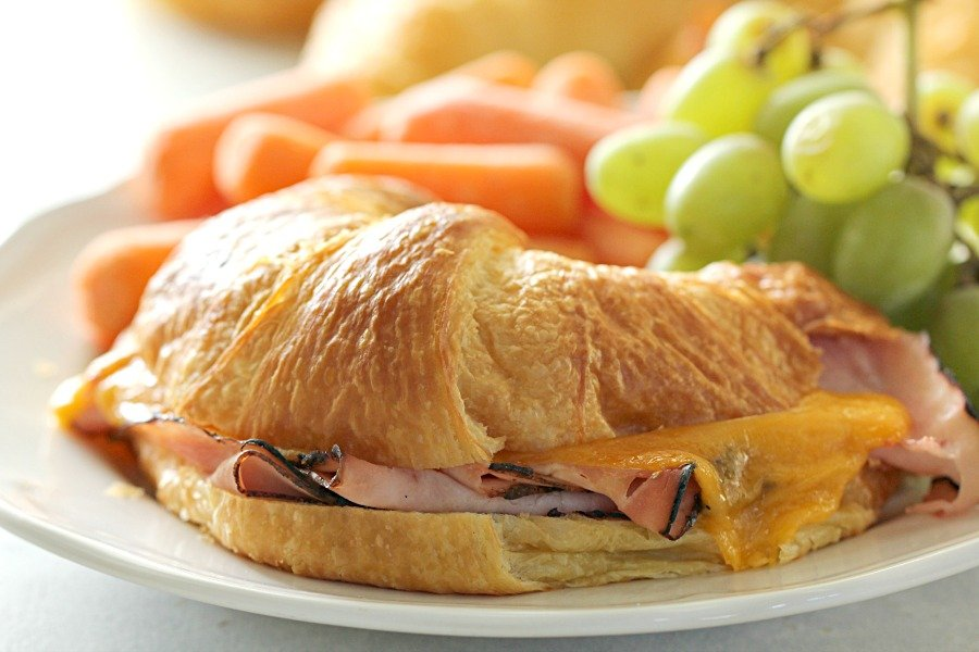 Baked Ham and Cheese Croissant Sandwiches