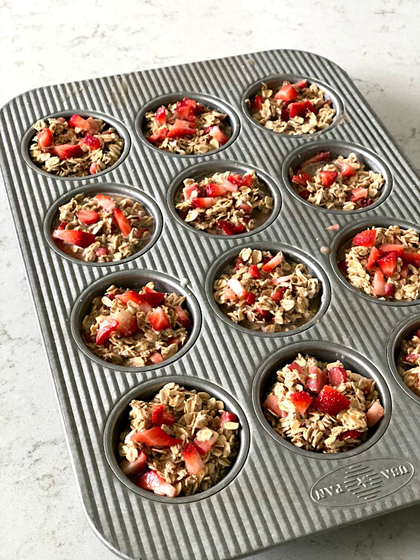 baked oatmeal in muffin pan ready to cook