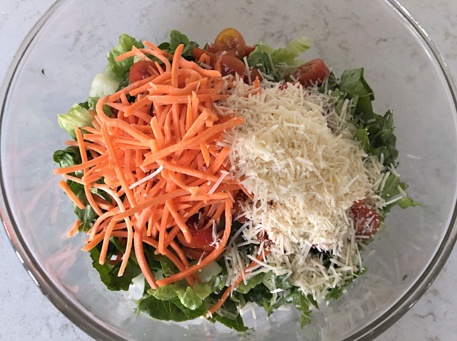 Chicken Caesar Salad Wrap filling in a glass bowl