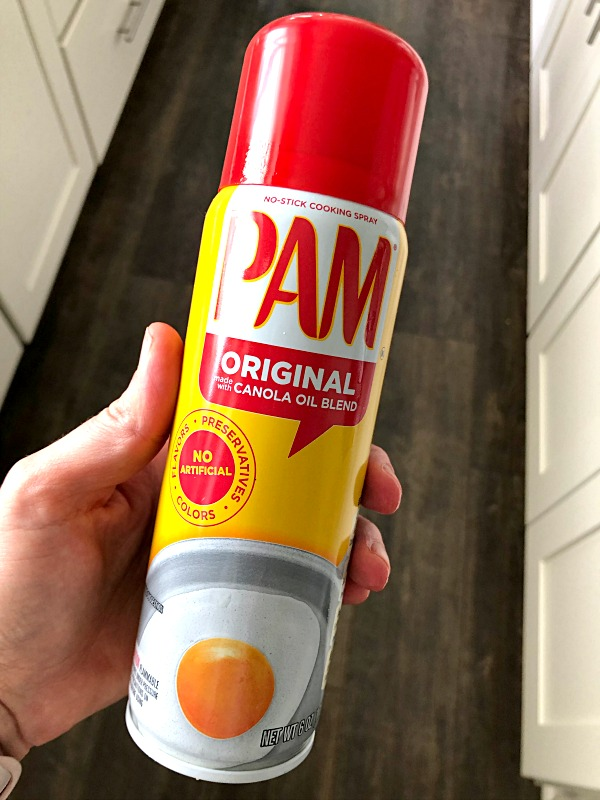 container of Pam non-stick cooking spray