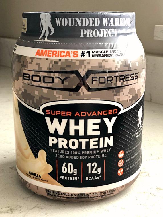 vanilla whey protein powder container