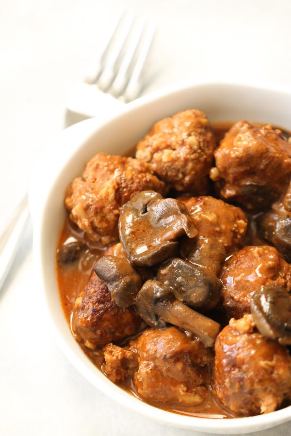 Salisbury Steak Meatballs in a white bowl