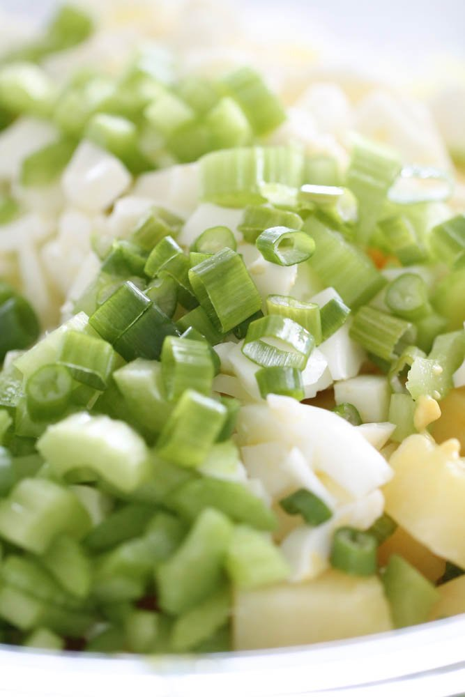 Mix egg whites, potatoes, celery and green onions in glass bowl