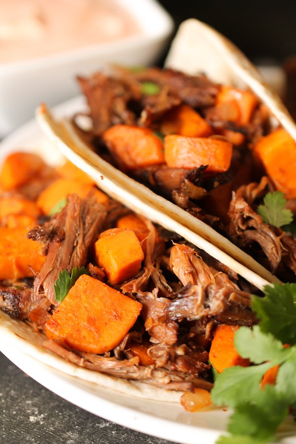 Shredded Beef and Sweet Potato Tacos