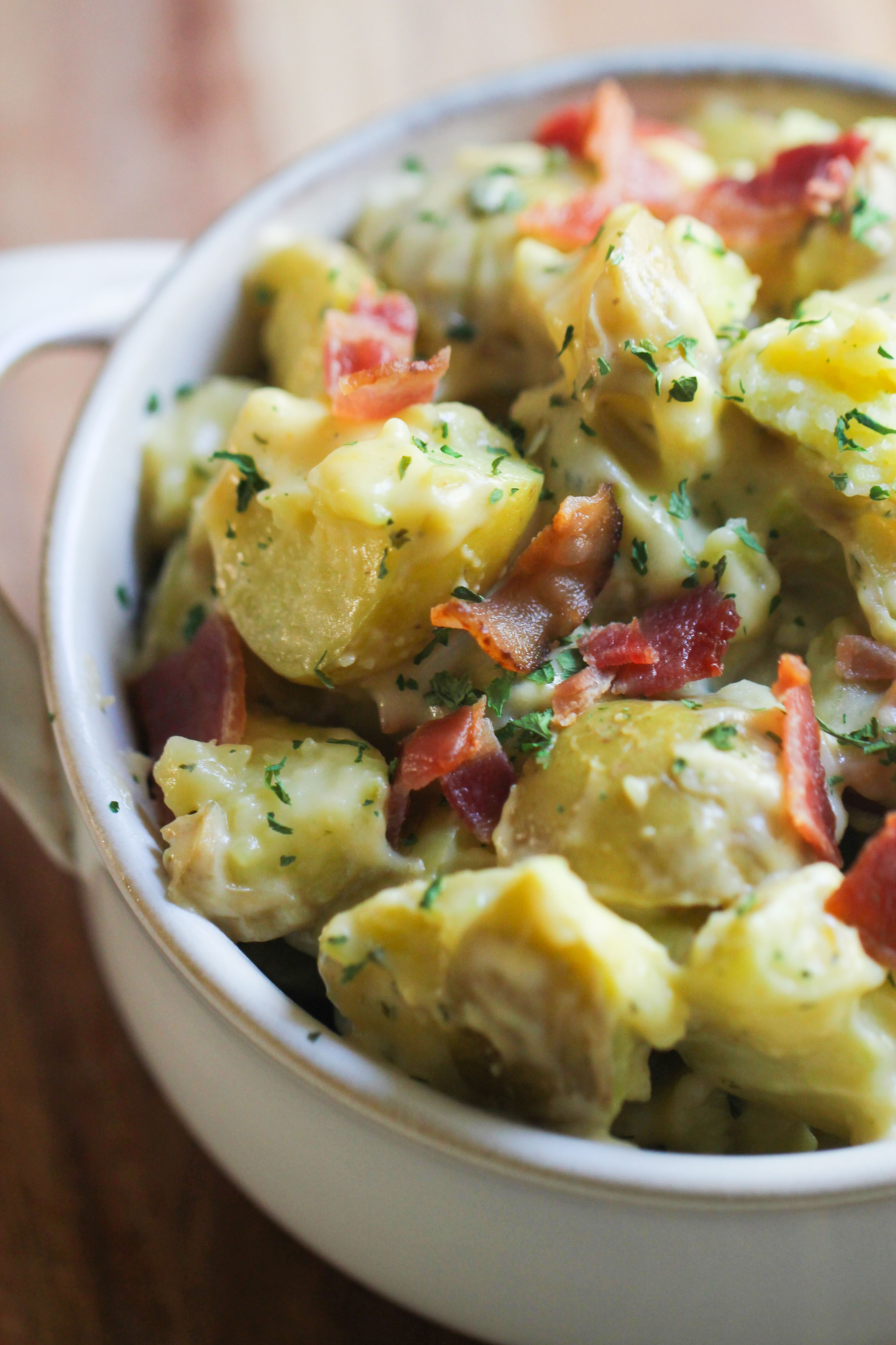 bacon ranch potatoes in a bowl