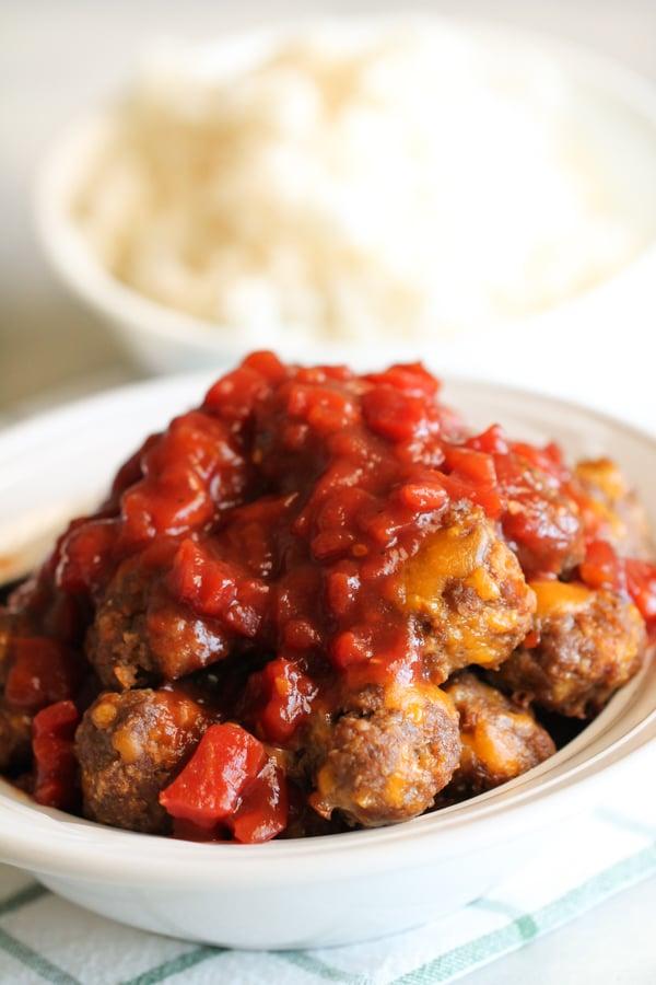 Cheesy BBQ Meatballs
