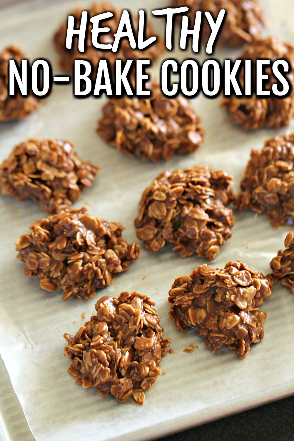 Healthier No Bake Chocolate Peanut Butter Cookies on a white serving plate