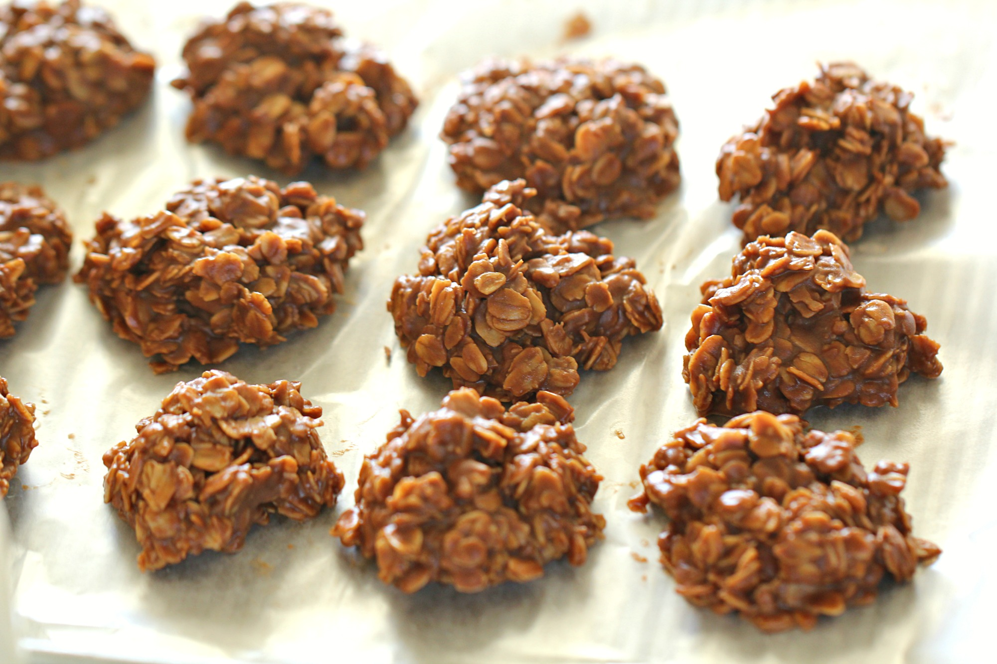 Healthier No Bake Chocolate Peanut Butter Cookies on wax paper