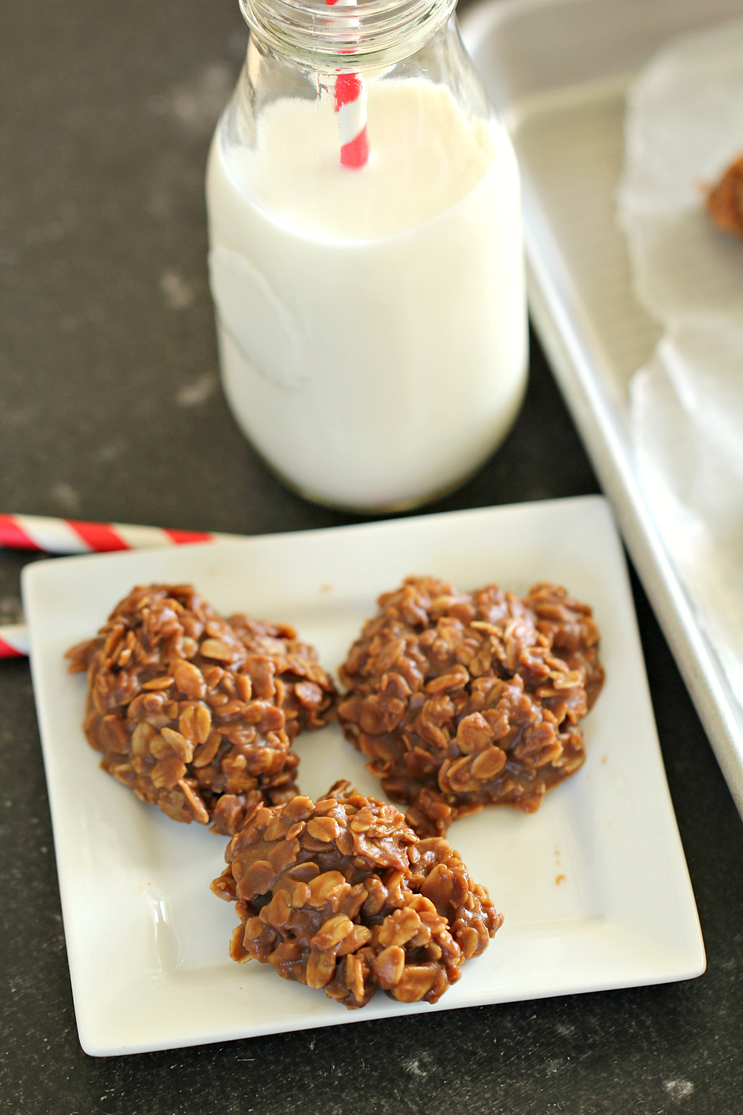 Healthier No Bake Chocolate Peanut Butter Cookies on a white dish