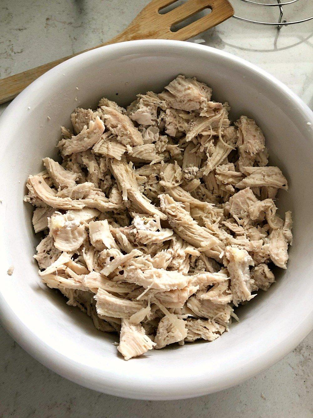 Shredded Chicken in a white bowl