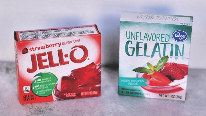 Jello and unflavored gelatin