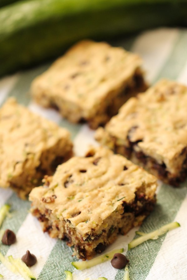 Chocolate Chip Zucchini Bars sliced on a towel