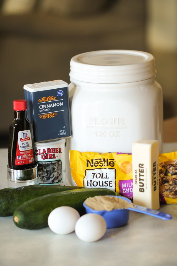 Ingredients for Chocolate Chip Zucchini Bars