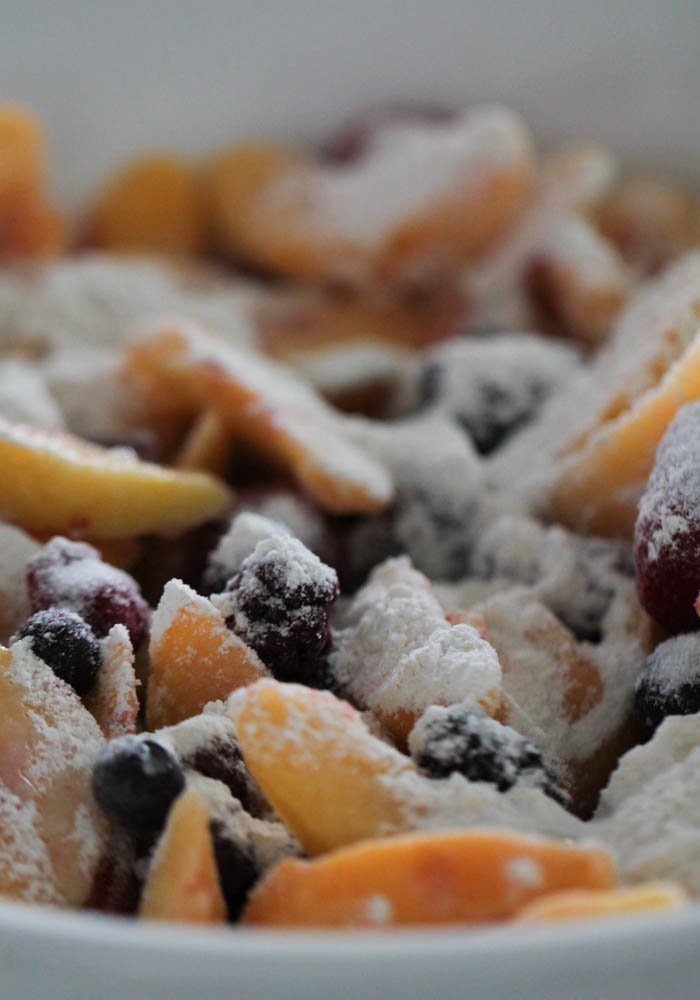 Peach and Berries tossed with flour and sugar