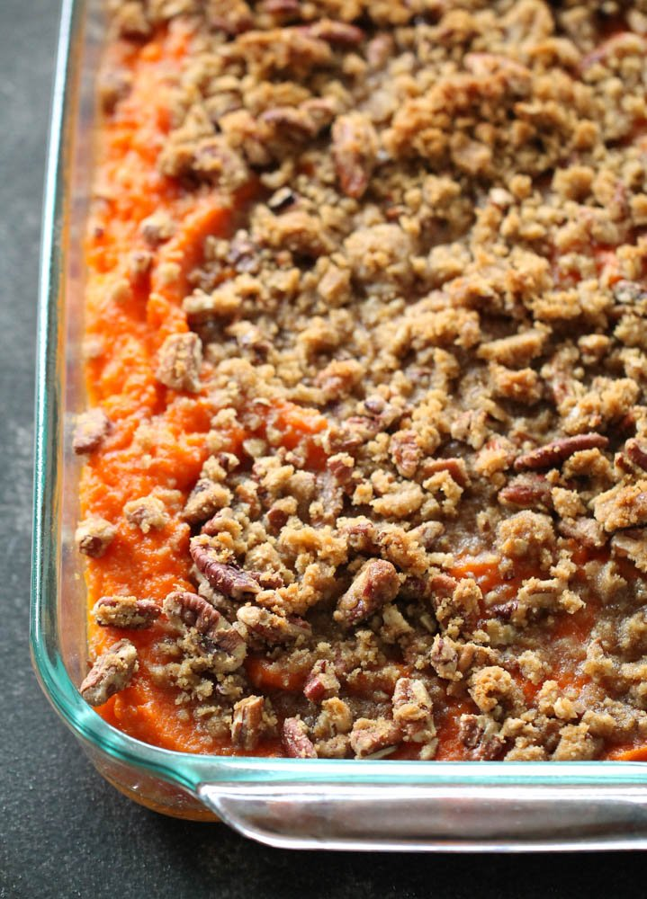 sweet potato casserole with brown sugar and pecan toppings